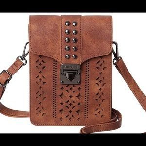 Small, crossbody for cellphone and wallet.